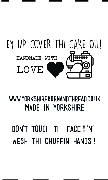 YBT Handmade With Love Labels-Face Masks-Ey Up Cover Thi Cake Oil! Wesh thi chuffin hands