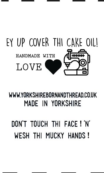 YBT Handmade With Love Labels-Face Masks-Ey Up Cover Thi Cake Oil! Wesh thi mucky hands